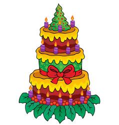 Christmas theme cake image 1 vector