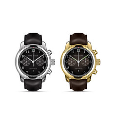 clock watch chronograph gold and silver vector image