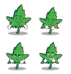 Collection marijuana character cartoon set vector