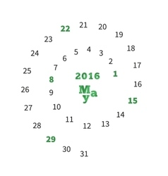 Creative calendar for May 2016 with dates on vector image