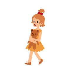 cute cartoon child holding a teddy bear - flat vector image