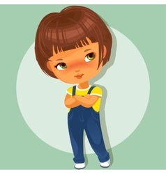 Cute little girl with hands crossed vector image