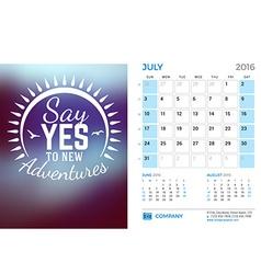 Desk Calendar for 2016 Year July Stationery Design vector image