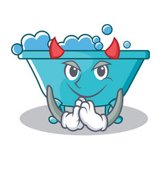Devil bathtub character cartoon style vector
