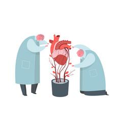 Doctors working on artificial heart growing flat vector