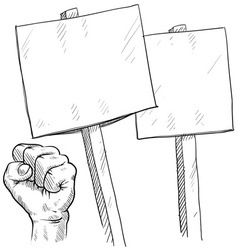 Doodle protest signs fist vector