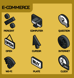 e-commerce color outline isometric icons vector image