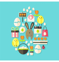 Easter holiday Flat Icons Set Egg shaped with vector image