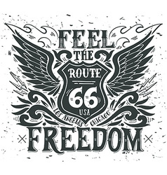 feel freedom route 66 hand drawn grunge vector image