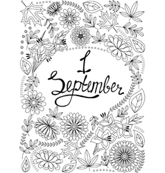 First september background black and white vector