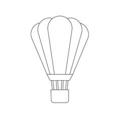 flat line cartoon icon hot air ballon vector image