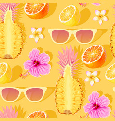flowers and exotic fruits seamless pattern vector image