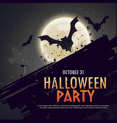 flying bats spooky hallowen background vector image
