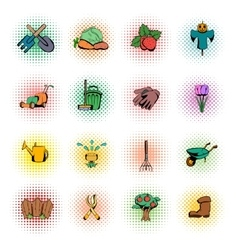 Garden comics icons set vector image