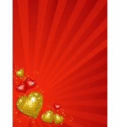 Gold valentine's disco hearts vector