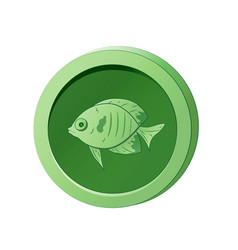 Green coin with image a fish vector