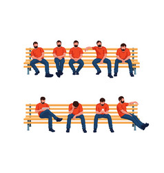 Group sitting men vector