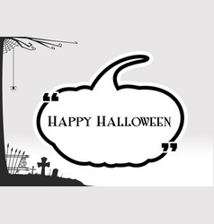 Halloween greeting in black pumpkin textbox quote vector