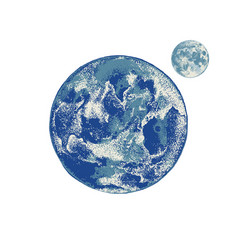 hand drawn earth and moon vector image