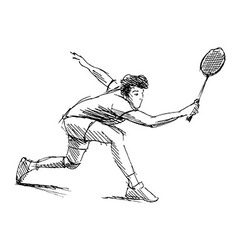 Hand sketch man playing badminton vector image