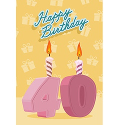 Happy Birthday Age 40 Announcement and Celebration vector
