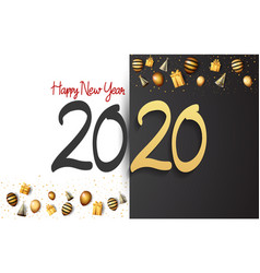 Happy new year 2020 black and golden number vector