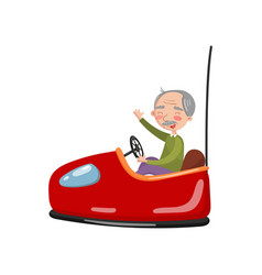 Happy senior man riding electric bumper car or vector