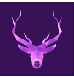 horned animal deer head logo low poly vector image