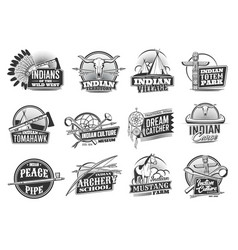 Indian native americans icons wild west culture vector