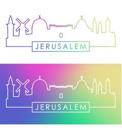 Jerusalem skyline colorful linear style editable vector