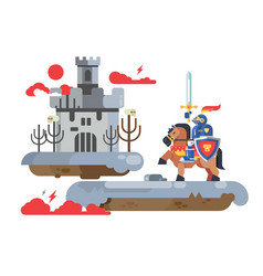 Knight with sword and old castle vector