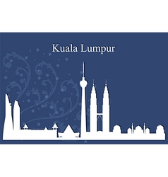 Kuala Lumpur city skyline on blue background vector image