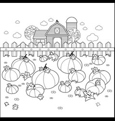 Landscape with a pumpkin field and a farmhouse vector