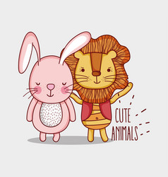 lions and bunny cute animals cartoons vector image