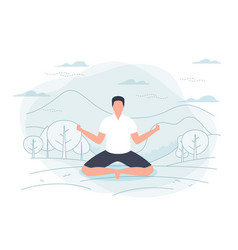 - man in yoga lotus pose vector image