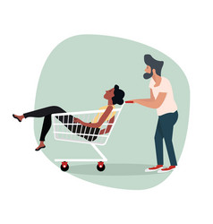 man with woman sitting in shopping cart vector image