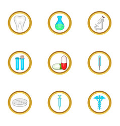 Medical laboratory icon set cartoon style vector