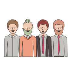 Men in half body with casual clothes with short vector