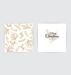 Merry christmas party invitation happy new year vector