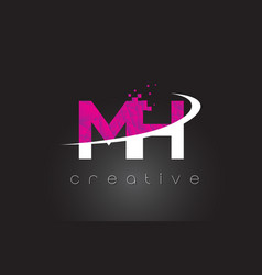 Mh m h creative letters design with white pink vector