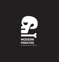 modern pirates - logo template concept vector image