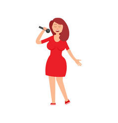 Music performance lady holding mike in hands vector