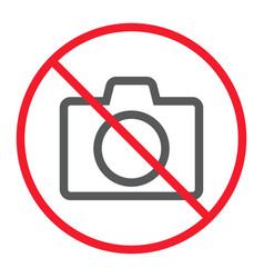 no camera line icon prohibition and forbidden vector image