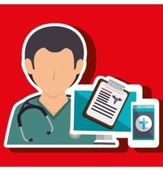 Nurse doctor laptop medical vector