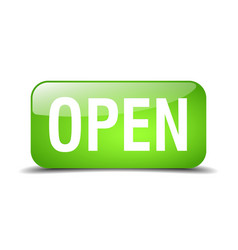 Open green square 3d realistic isolated web button vector