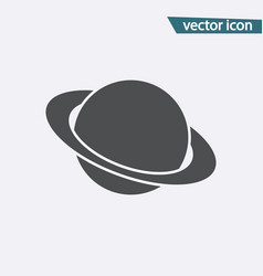 planet icon flat saturn symbol isolated on vector image