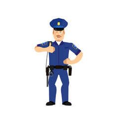 police officer winks policeman thumbs up cheerful vector image