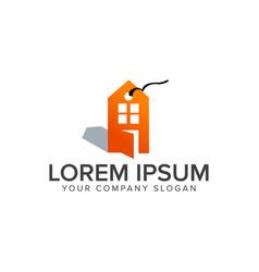 Real estate label sale logo design concept vector