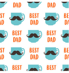 seamless pattern fathers day with mustache vector image