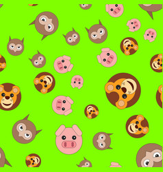 seamless pattern of lion head pigs and owls vector image